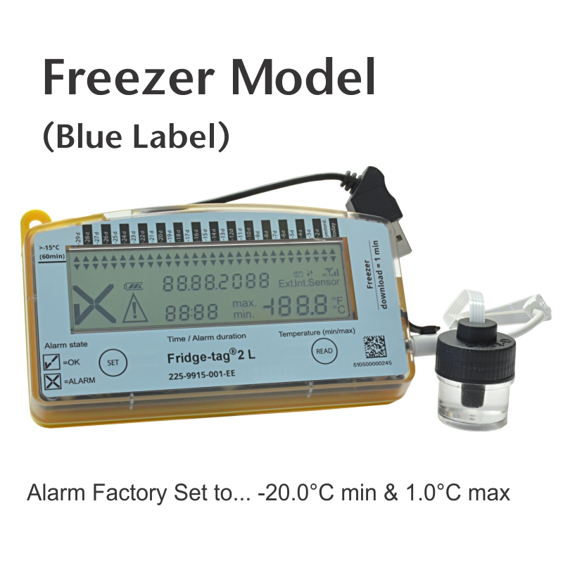 Thermco Fridge-tag® 2L Vaccine Data Logger for Freezers Alarm Settings