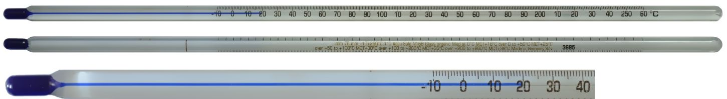 0 to 300/°F Range 76mm Immersion 305mm Length 2/°F Division Thermco B300FW3BLS ACCU-SAFE Blue Spirit Filled Non-Toxic Thermometer